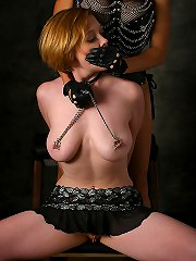 Powerful mistress training big titted slave